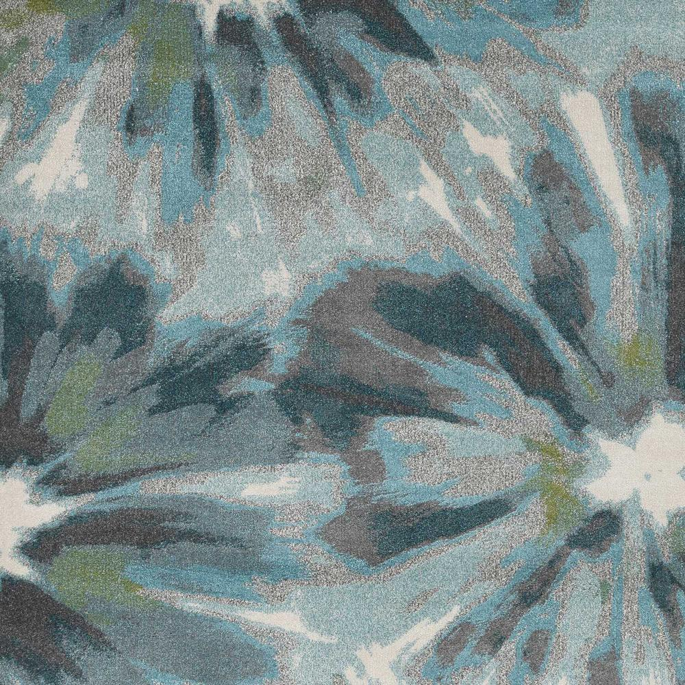 5' x 8' Teal Tropical Flower Indoor Area Rug - 375516. Picture 2