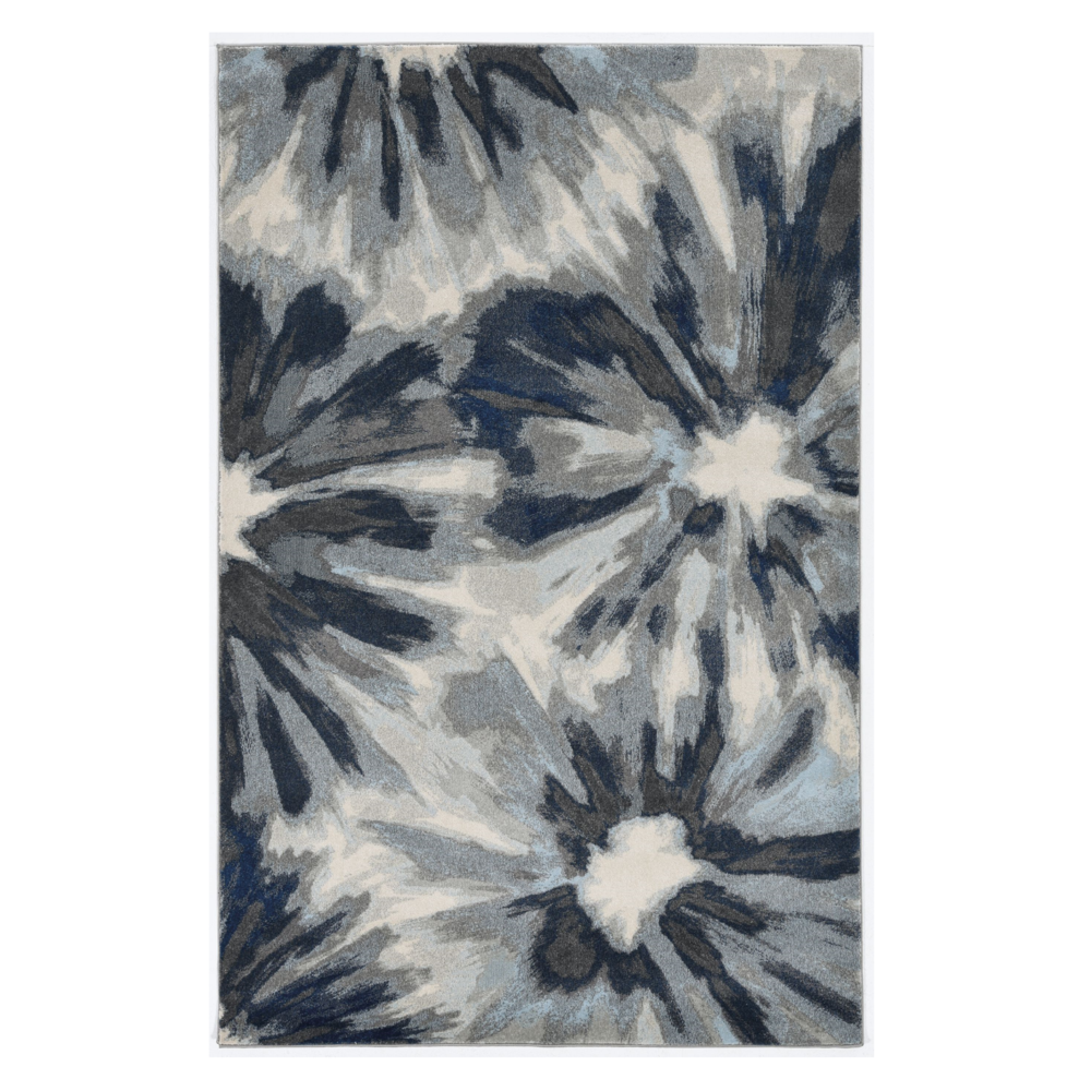 3'x5' Ivory Blue Machine Woven Oversized Floral Indoor Area Rug - 375519. Picture 1