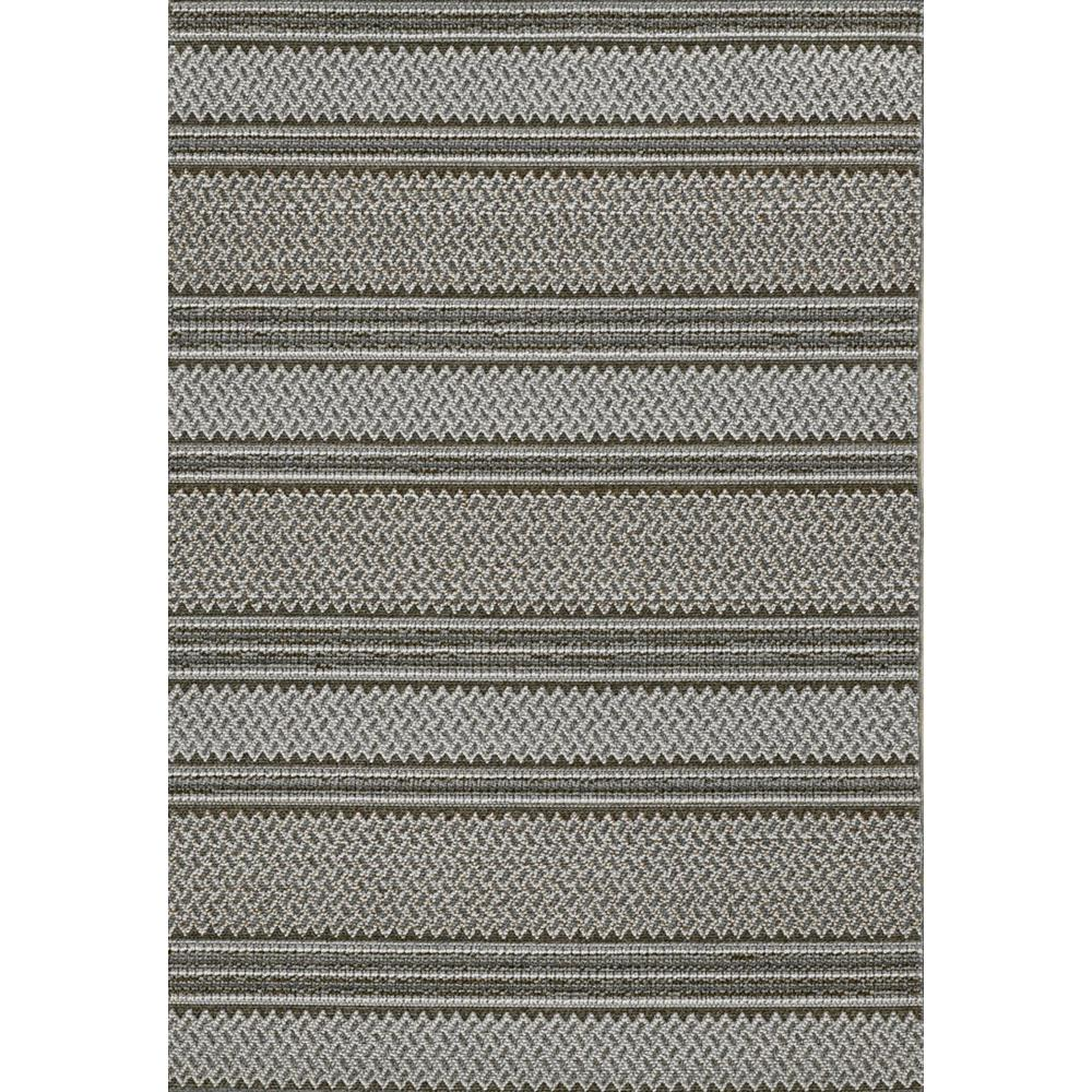 8' Grey Machine Woven UV Treated Awning Stripes Indoor Outdoor Runner Rug - 375546. Picture 3
