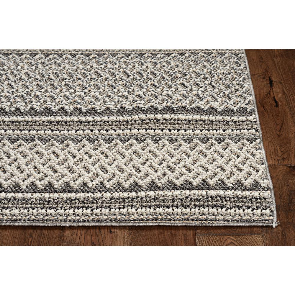 8' Grey Machine Woven UV Treated Awning Stripes Indoor Outdoor Runner Rug - 375546. Picture 1