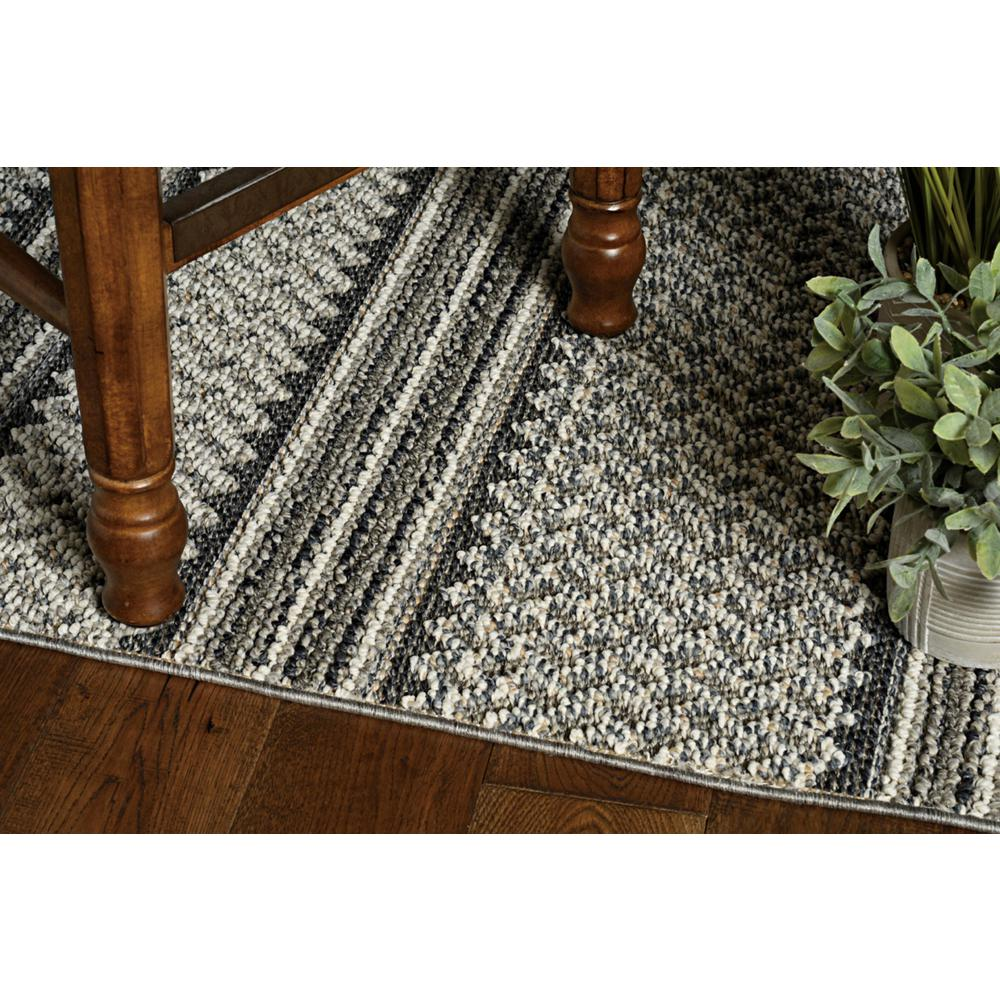 8' Grey Machine Woven UV Treated Awning Stripes Indoor Outdoor Runner Rug - 375546. Picture 2