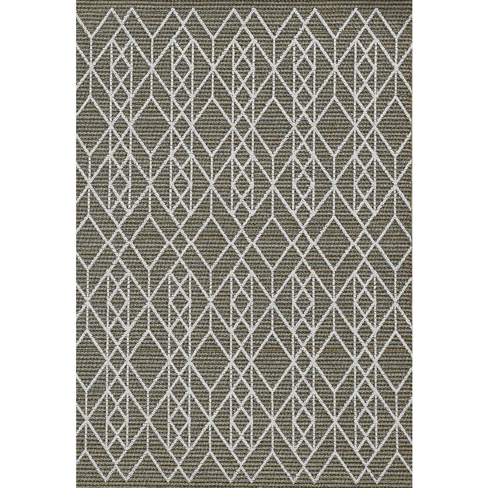 5'x8' Grey Machine Woven UV Treated Geometric Indoor Outdoor Area Rug - 375554. Picture 4