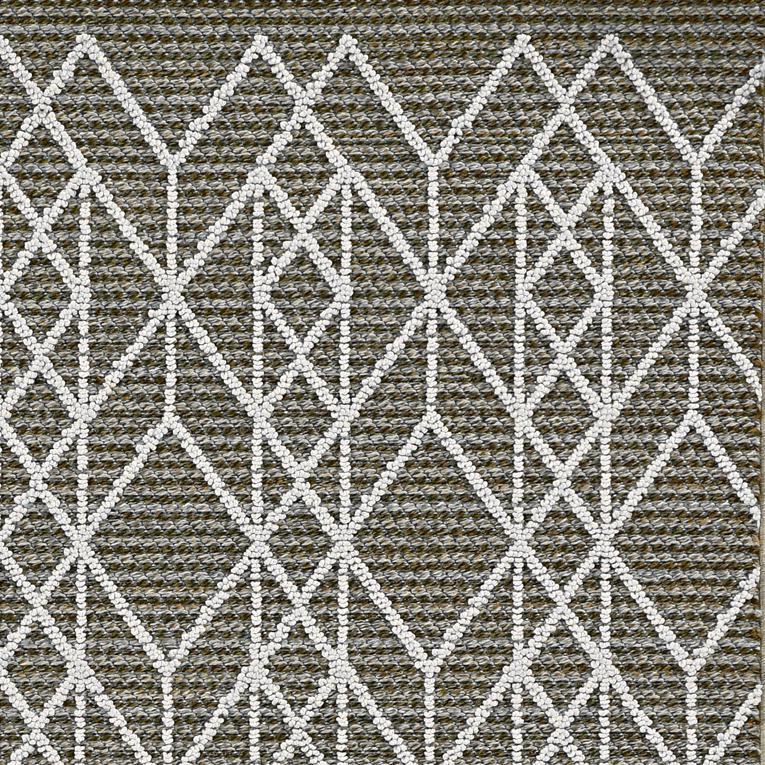 5'x8' Grey Machine Woven UV Treated Geometric Indoor Outdoor Area Rug - 375554. Picture 3