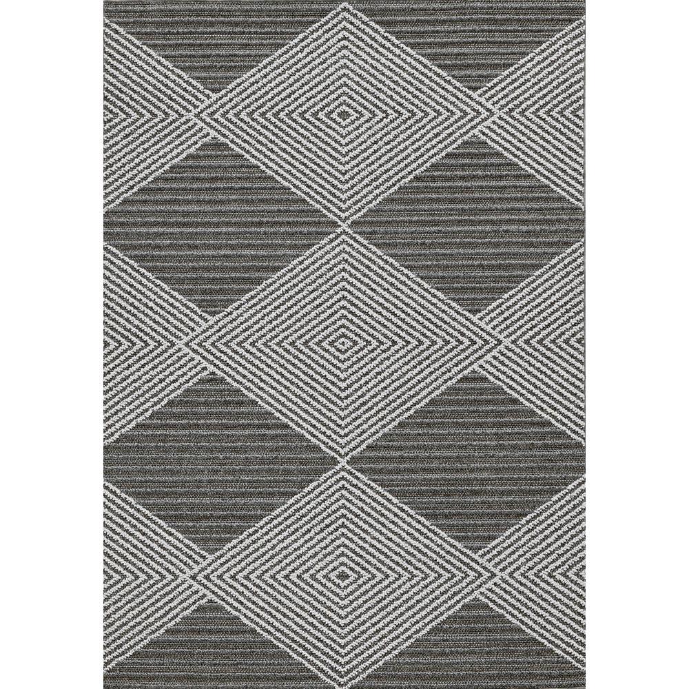 4' x 6' Grey or Ivory Geometric Diamond Area Rug - 375559. Picture 3