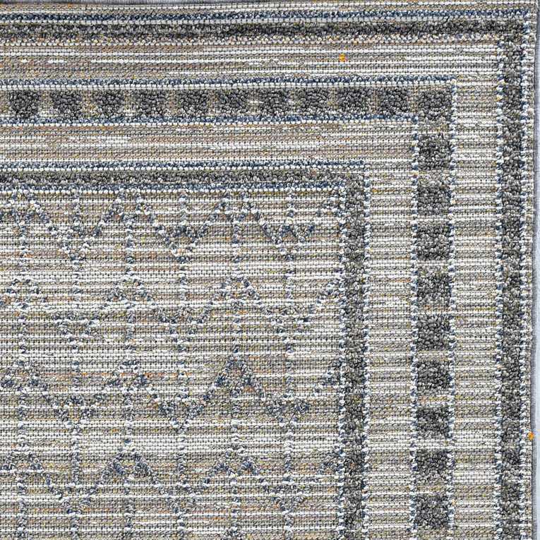 4'x6' Grey Machine Woven UV Treated Bordered Chevron Indoor Outdoor Area Rug - 375577. Picture 2