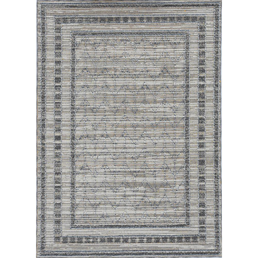 8'x10' Grey Machine Woven UV Treated Bordered Indoor Outdoor Area Rug - 375580. Picture 1
