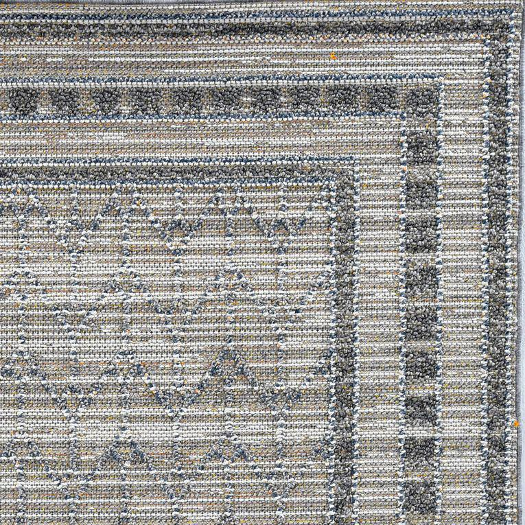 8'x10' Grey Machine Woven UV Treated Bordered Indoor Outdoor Area Rug - 375580. Picture 4