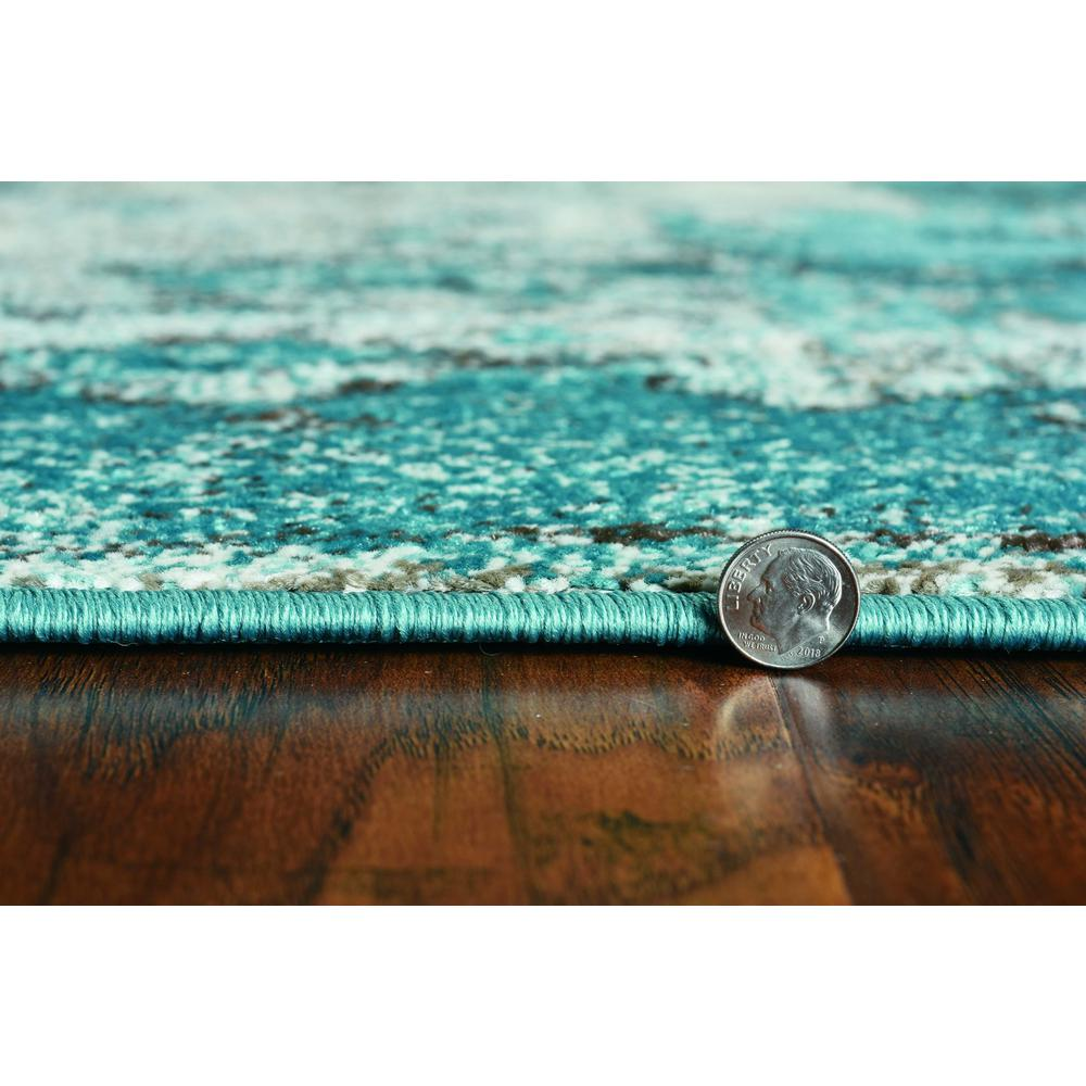 5'x8' Ivory Teal Machine Woven Abstract Indoor Area Rug - 375595. Picture 4