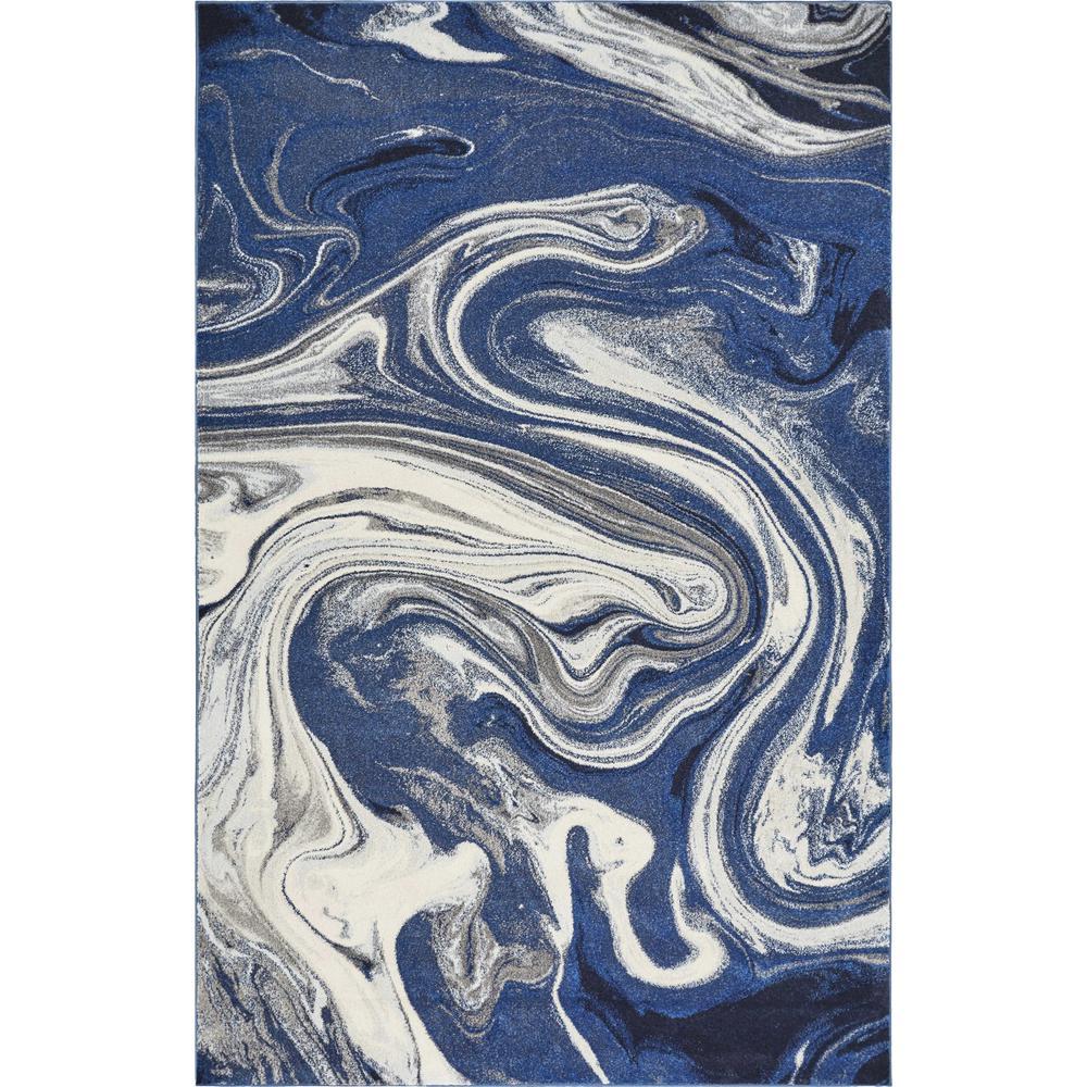 7'x10' Blue Beige Machine Woven Marble Indoor Area Rug - 375608. Picture 3