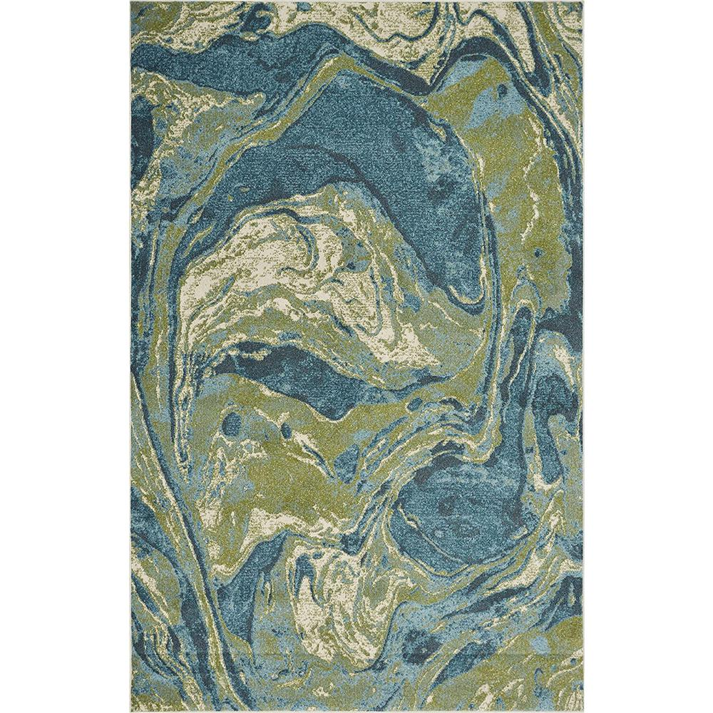 3' x 5' Teal Abstract Waves Area Rug - 375614. Picture 1