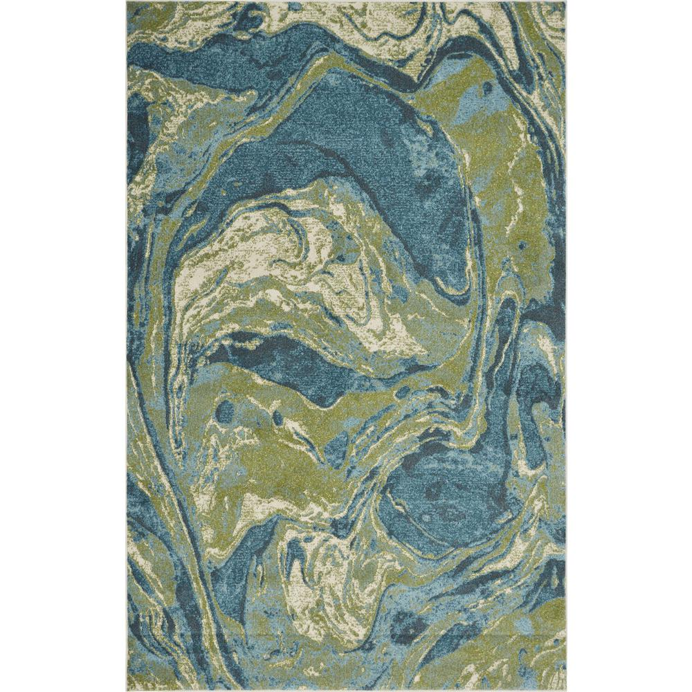 7'x10' Teal Blue Machine Woven Marble Indoor Area Rug - 375616. Picture 2