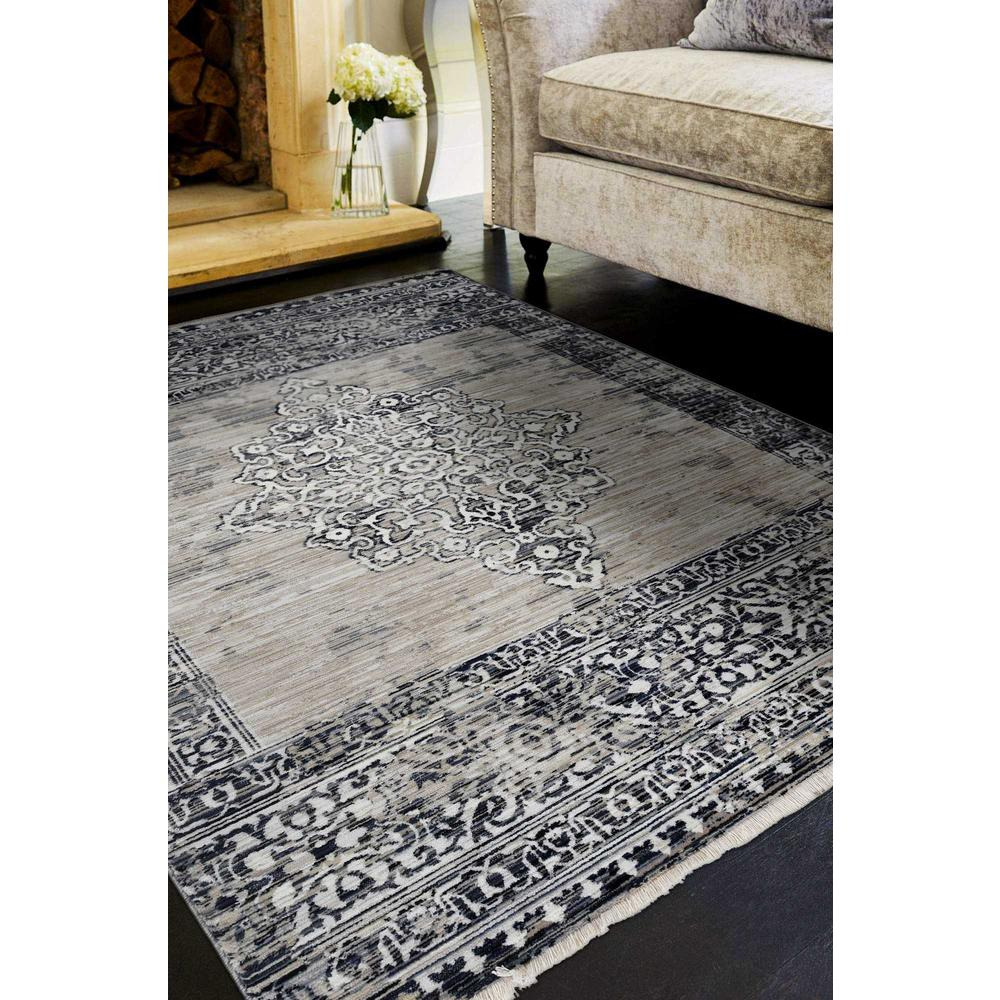 5' x 8' Sand or Charcoal Medallion Bordered Area Rug - 375620. Picture 1