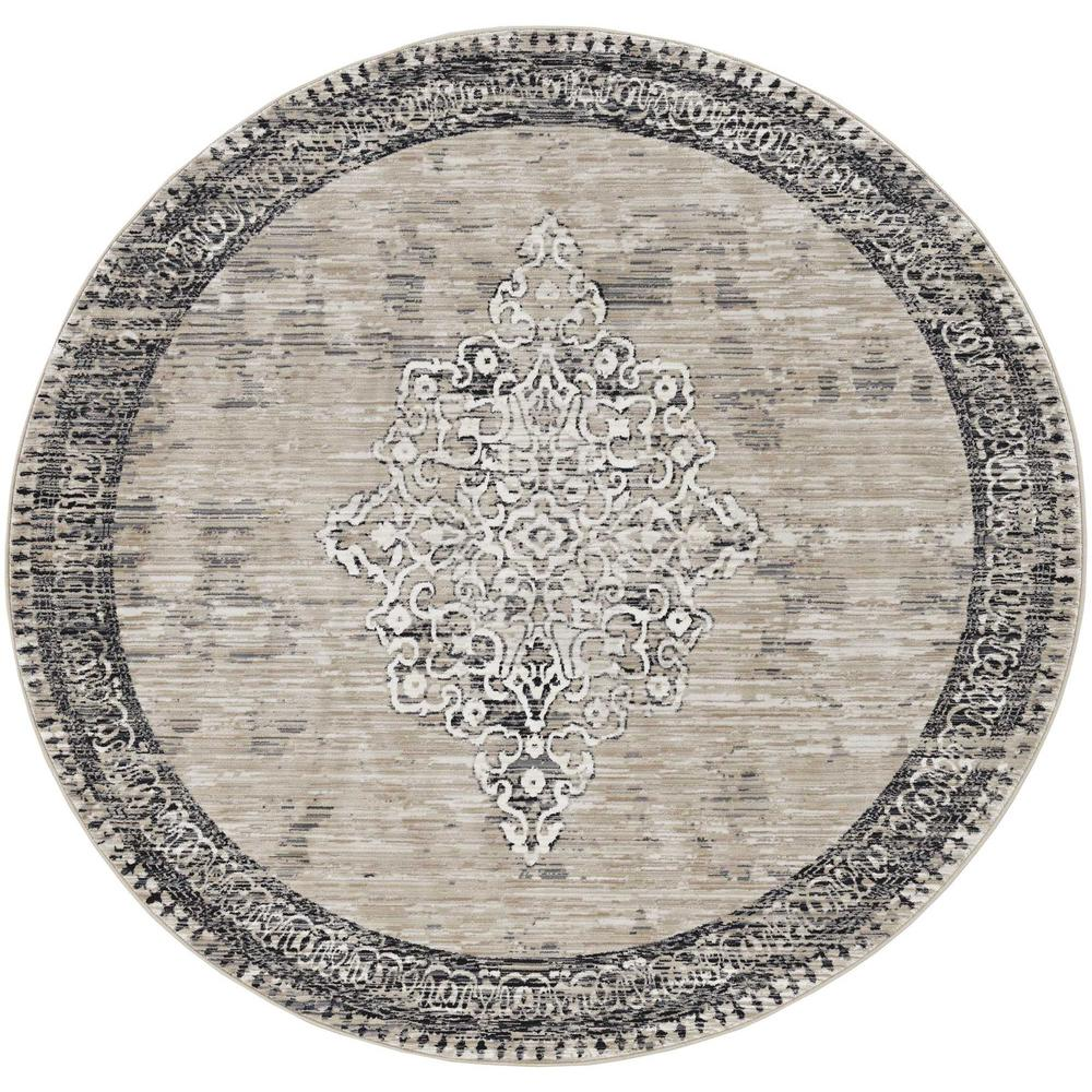 5' x 8' Sand or Charcoal Medallion Bordered Area Rug - 375620. Picture 3