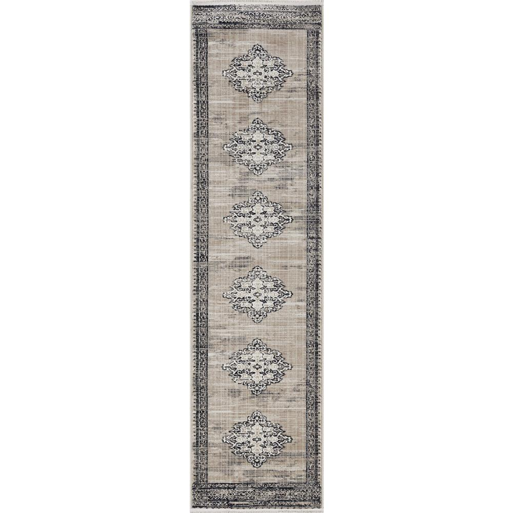 5' x 8' Sand or Charcoal Medallion Bordered Area Rug - 375620. Picture 4