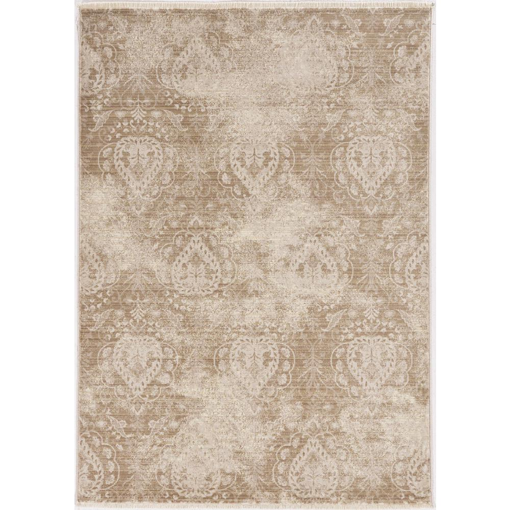 8'x10' Sand Ivory Machine Woven Distressed Traditional Indoor Area Rug - 375628. Picture 1