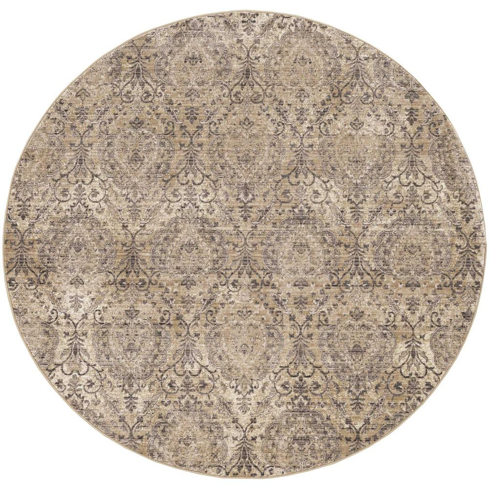 7' Sand Grey Machine Woven Distressed Traditional Round Area Rug - 375633. Picture 1