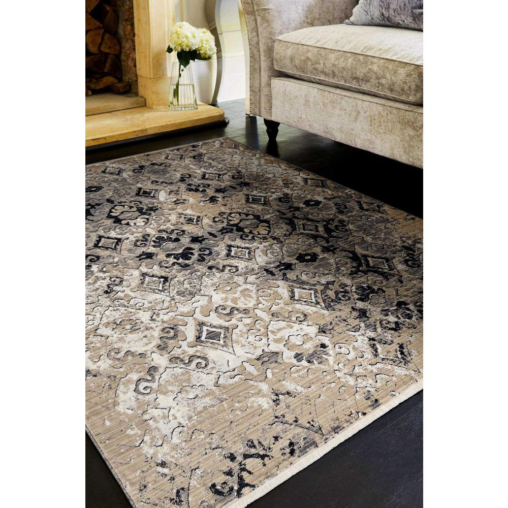 5'x8' Ivory Beige Machine Woven Distressed Traditional Indoor Area Rug - 375638. Picture 1