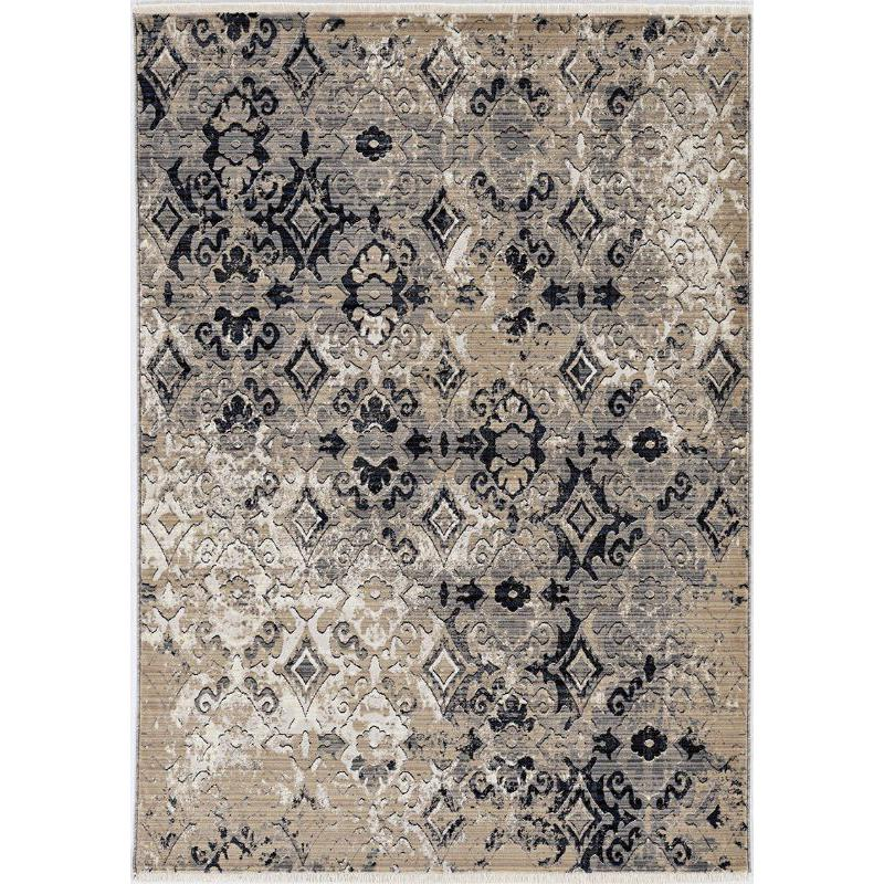 5'x8' Ivory Beige Machine Woven Distressed Traditional Indoor Area Rug - 375638. Picture 2