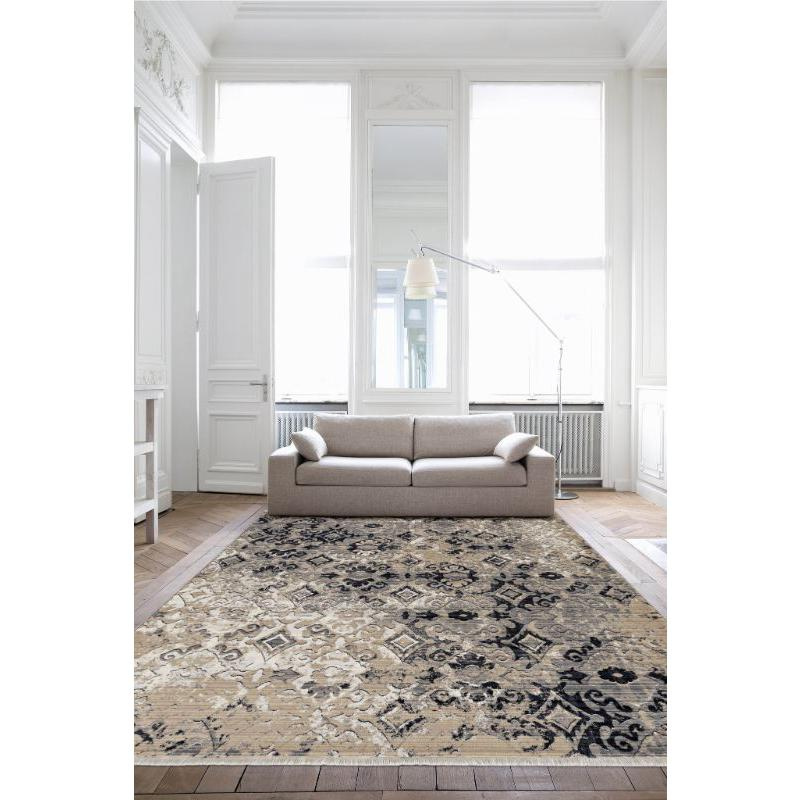 5'x8' Ivory Beige Machine Woven Distressed Traditional Indoor Area Rug - 375638. Picture 4