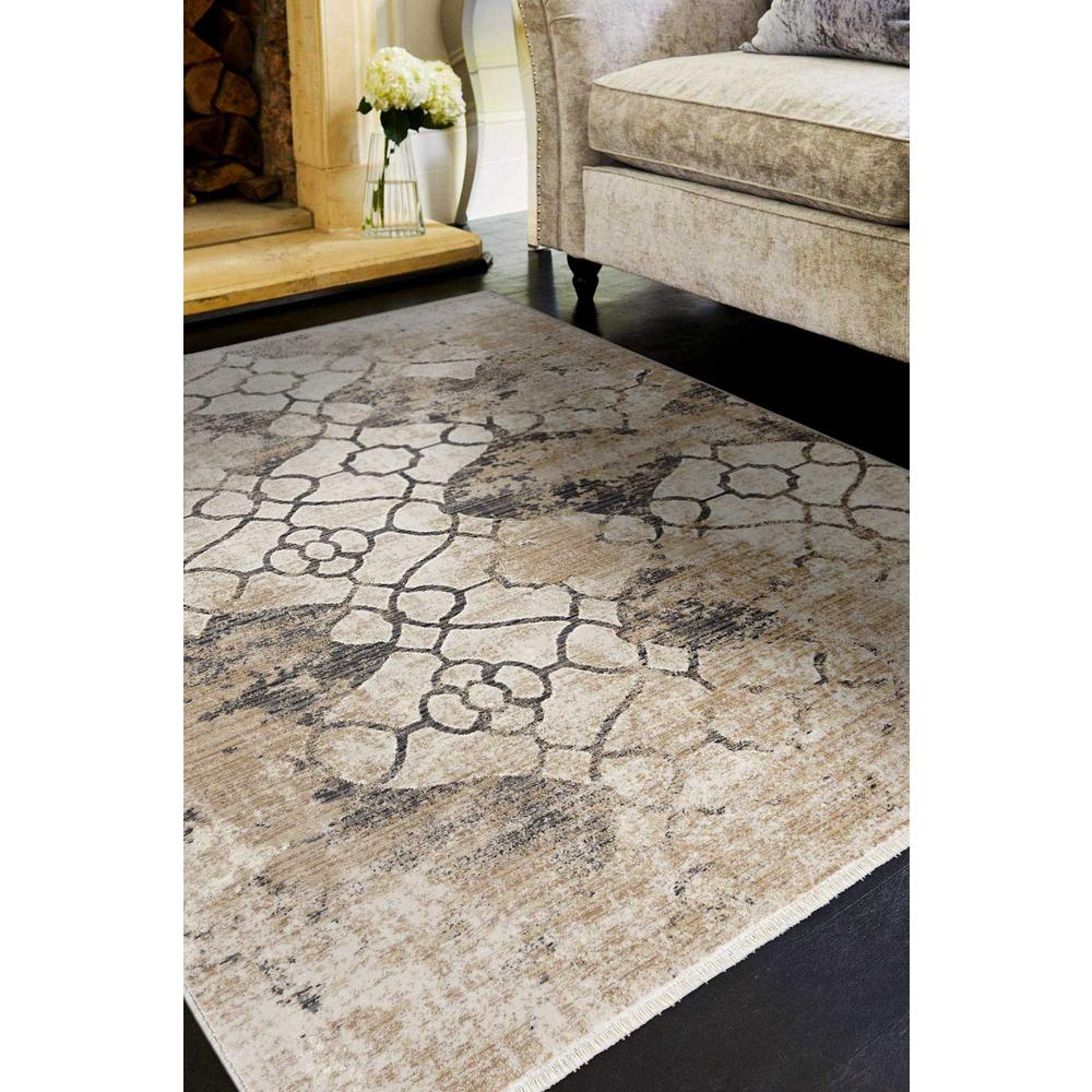 5'x8' Ivory Machine Woven Distressed Ogee Indoor Area Rug - 375650. Picture 1