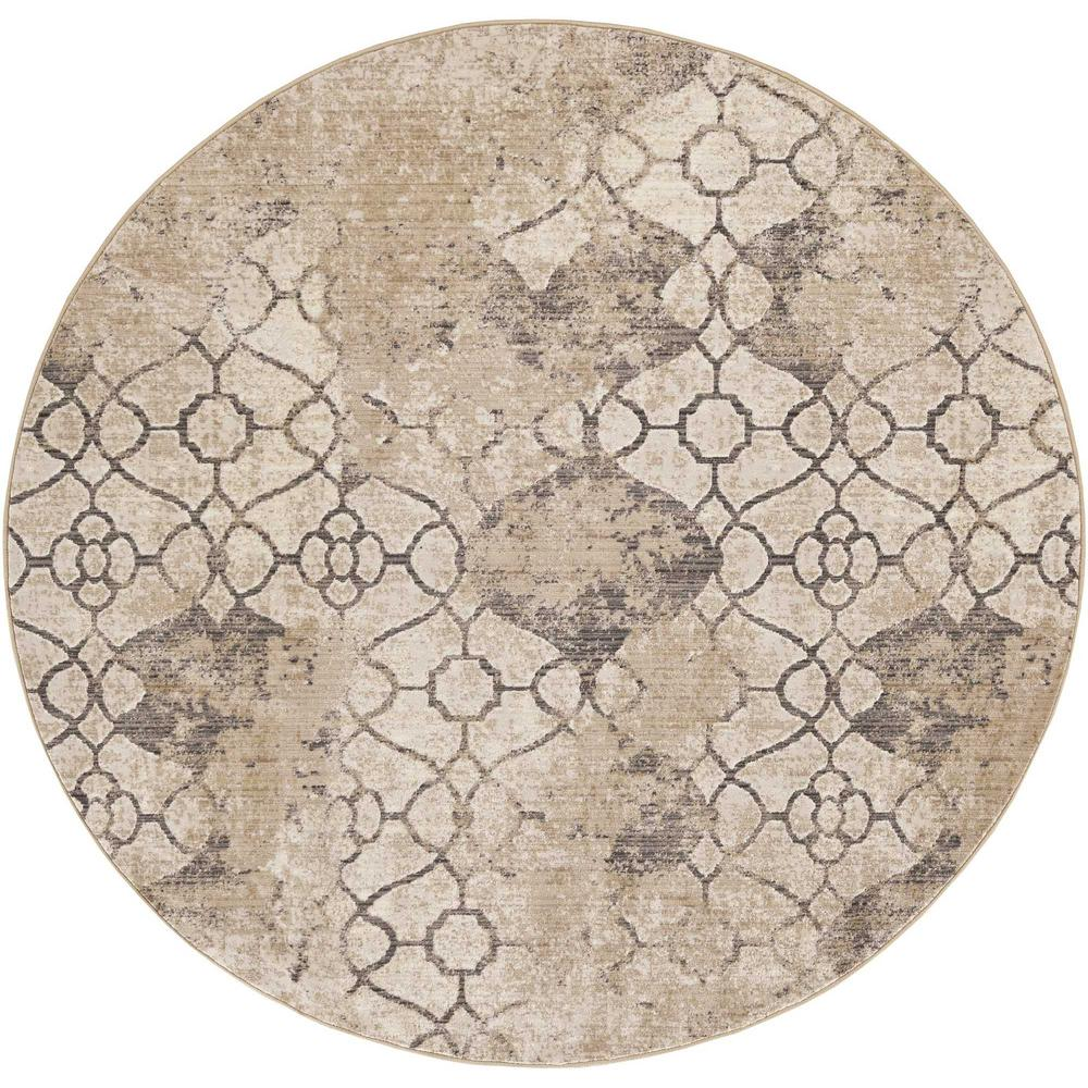 5'x8' Ivory Machine Woven Distressed Ogee Indoor Area Rug - 375650. Picture 2