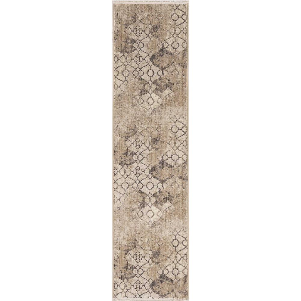 5'x8' Ivory Machine Woven Distressed Ogee Indoor Area Rug - 375650. Picture 3