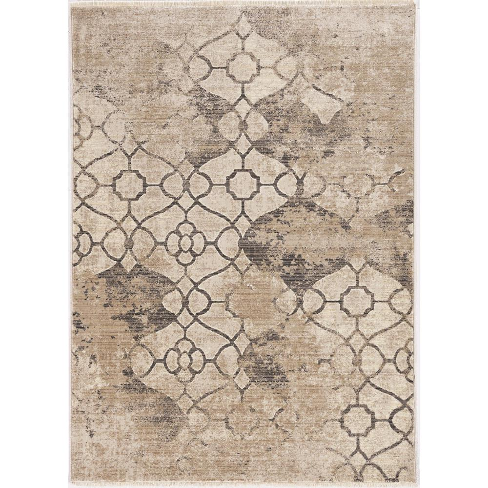 8'x10' Ivory Machine Woven Ogee Indoor Area Rug - 375652. Picture 1