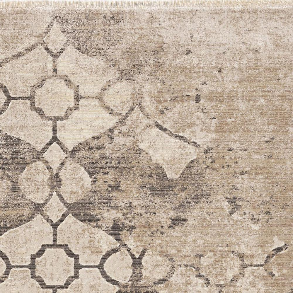 8'x10' Ivory Machine Woven Ogee Indoor Area Rug - 375652. Picture 3