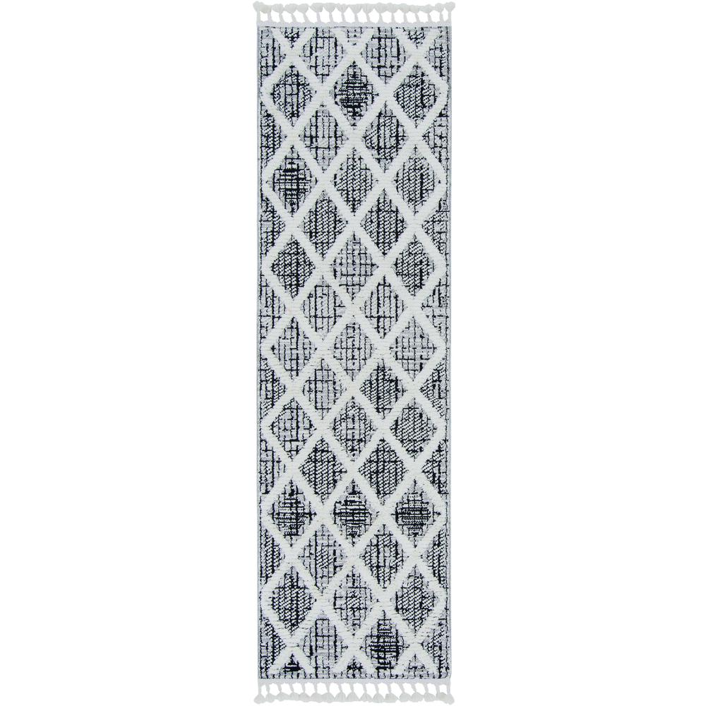 3' x 5' Charcoal Diamonds Area Rug with Fringe - 375666. Picture 1
