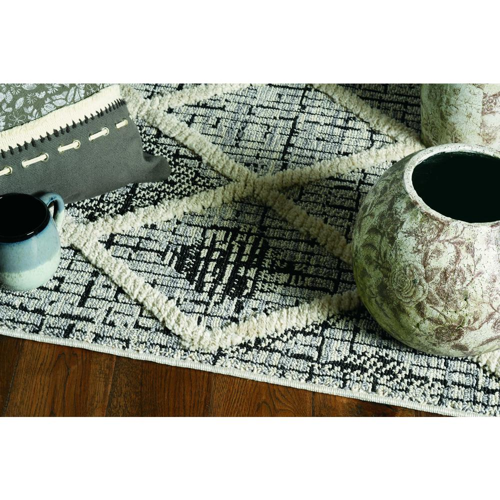 3' x 5' Charcoal Diamonds Area Rug with Fringe - 375666. Picture 2
