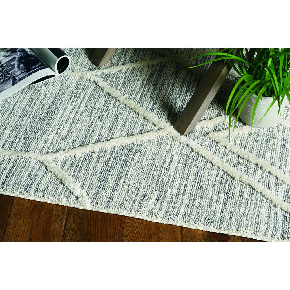 3' x 5' Ivory Grey Diamonds Area Rug with Fringe - 375672. Picture 2