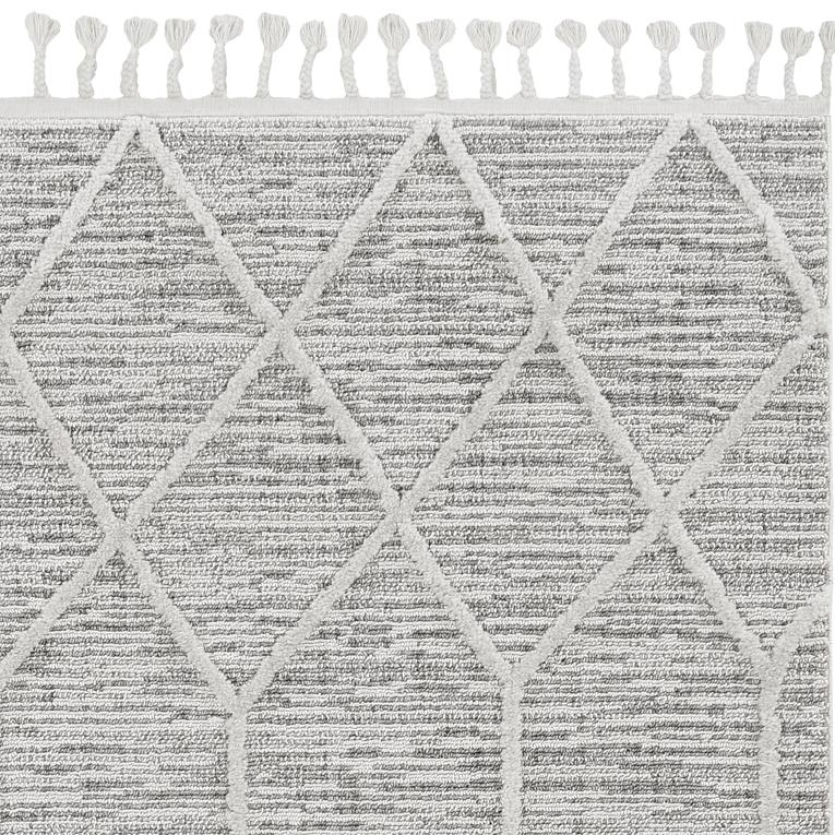 5'x8' Ivory Grey Machine Woven Abstract With Fringe Indoor Area Rug - 375673. Picture 1