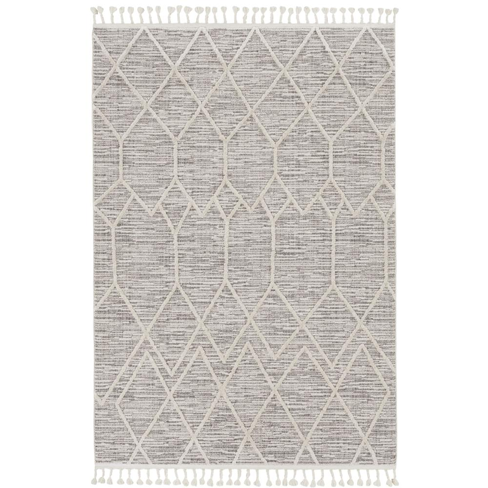 5'x8' Ivory Grey Machine Woven Abstract With Fringe Indoor Area Rug - 375673. Picture 2