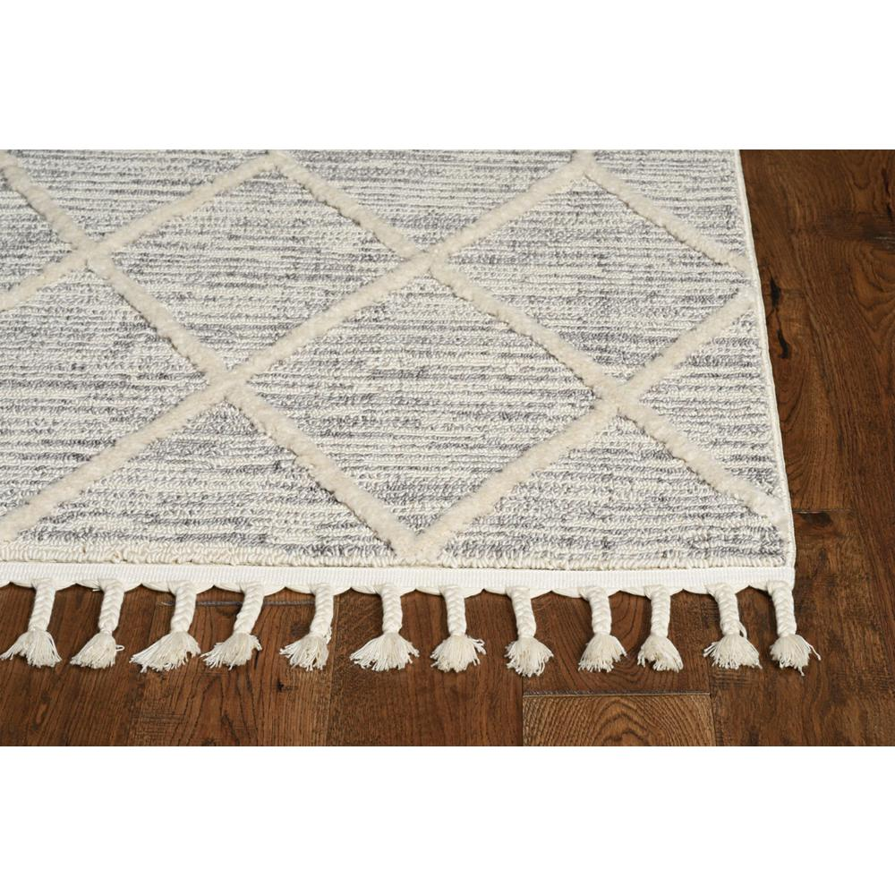 5'x8' Ivory Grey Machine Woven Abstract With Fringe Indoor Area Rug - 375673. Picture 3