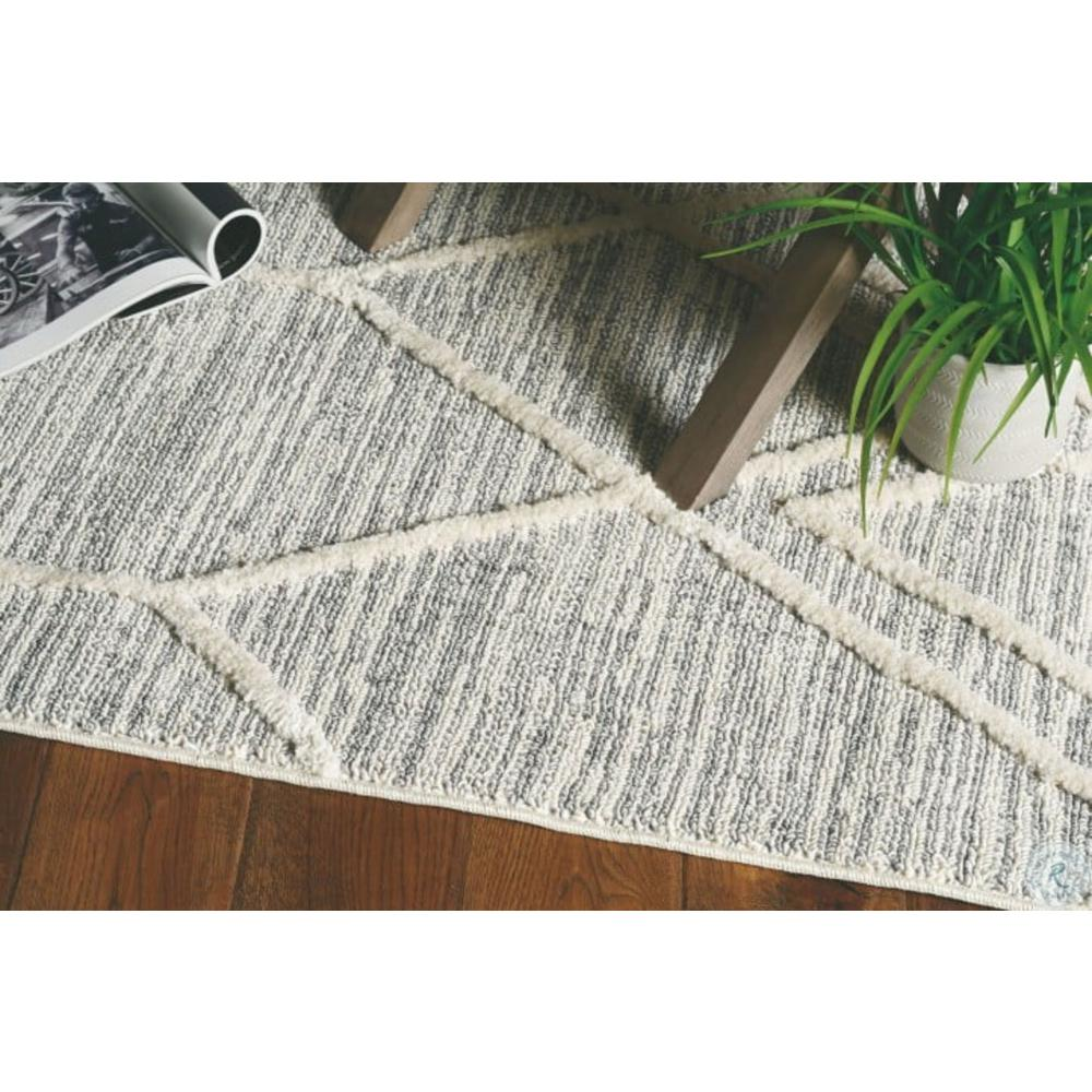 5'x8' Ivory Grey Machine Woven Abstract With Fringe Indoor Area Rug - 375673. Picture 4