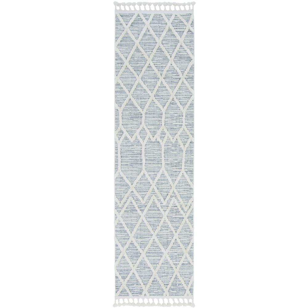 8'x11' Ivory Grey Machine Woven Geometric Indoor Area Rug - 375674. Picture 1