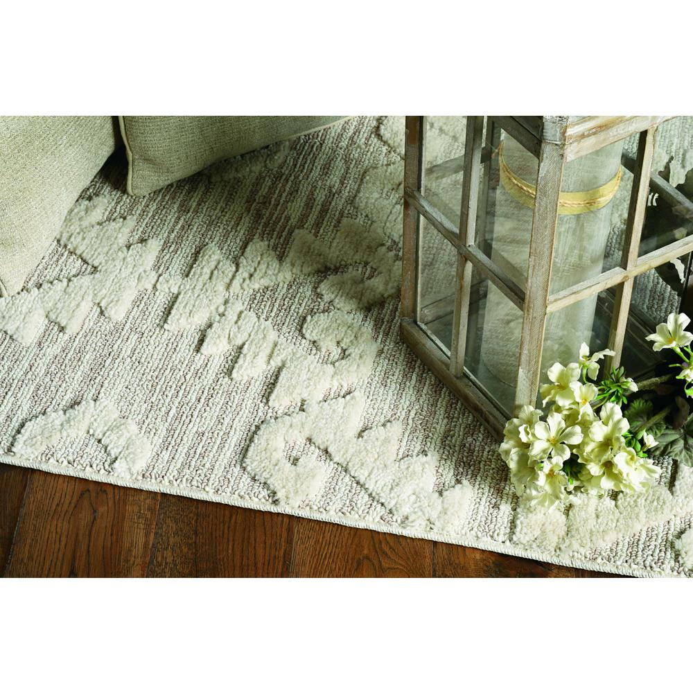 8' Ivory Beige Machine Woven Geometric With Fringe Indoor Runner Rug - 375677. Picture 1