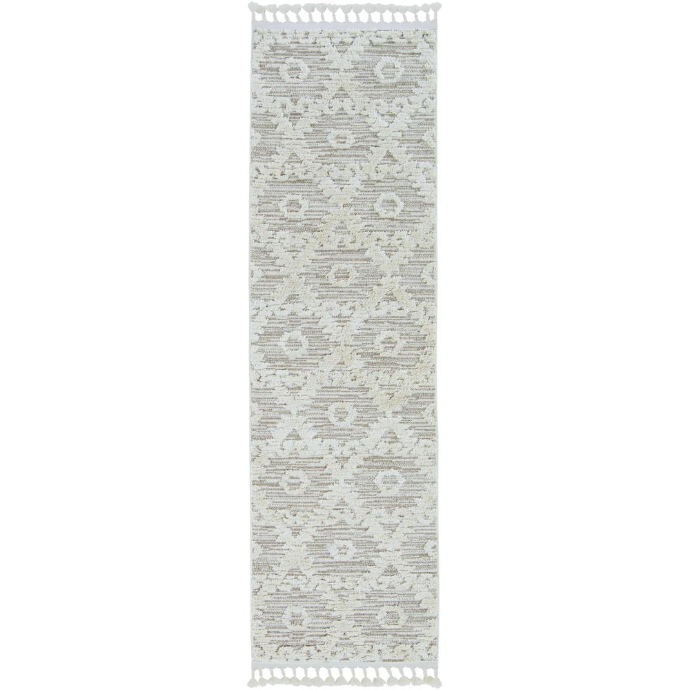 8' Ivory Beige Machine Woven Geometric With Fringe Indoor Runner Rug - 375677. Picture 2