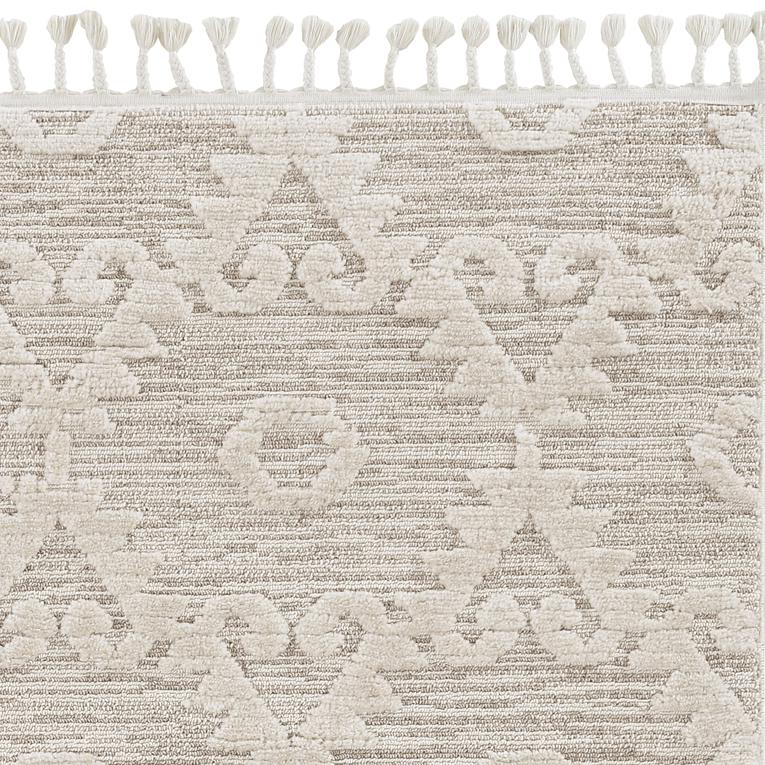 8' Ivory Beige Machine Woven Geometric With Fringe Indoor Runner Rug - 375677. Picture 3