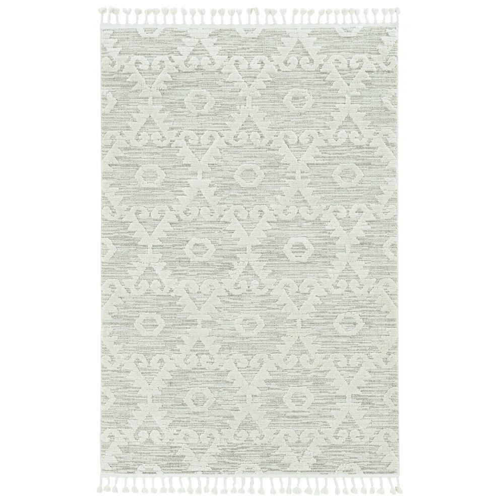 5' x 8' Ivory or Beige Geometric Diamond Indoor Area Rug with Fringe - 375679. Picture 2