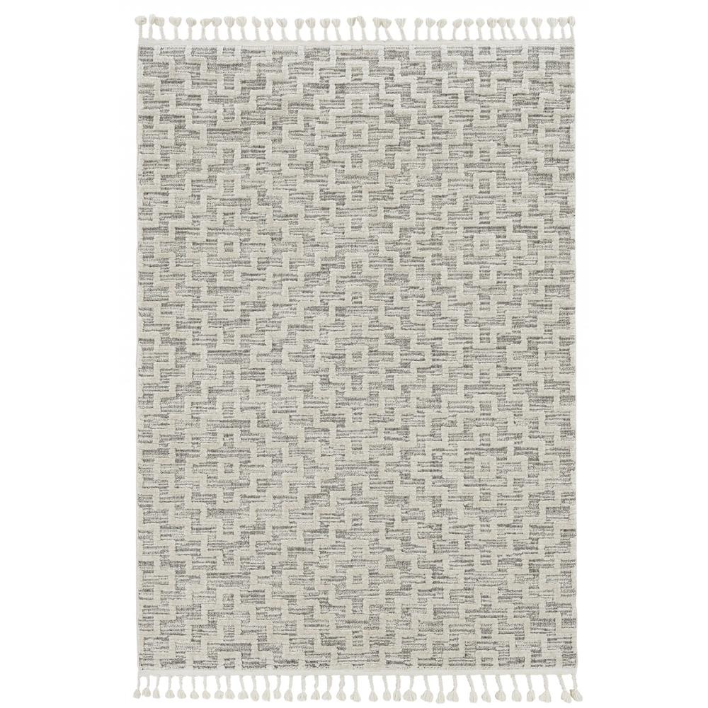 8' Ivory Grey Machine Woven Geometric With Fringe Indoor Runner Rug - 375683. Picture 1
