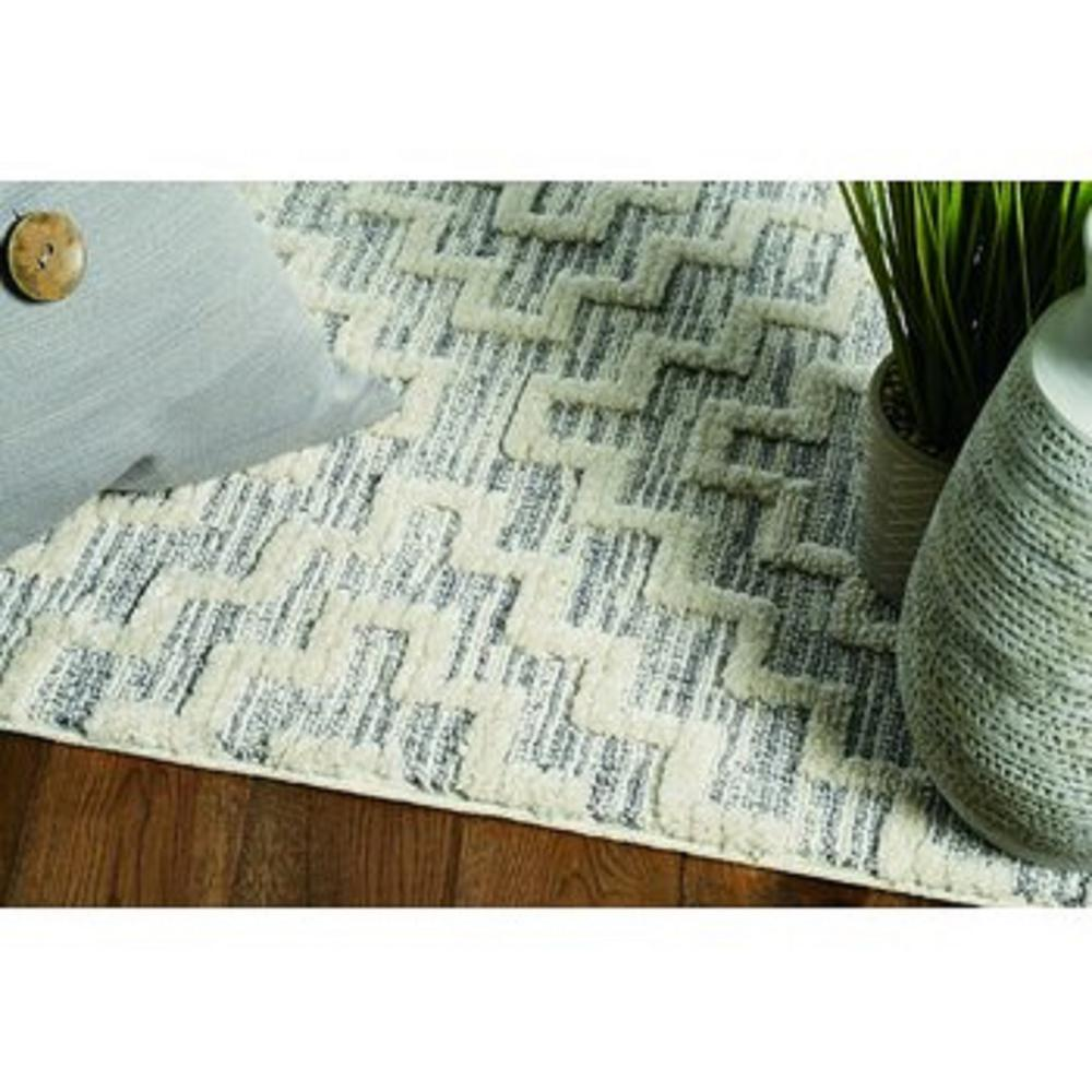 8' Ivory Grey Machine Woven Geometric With Fringe Indoor Runner Rug - 375683. Picture 2