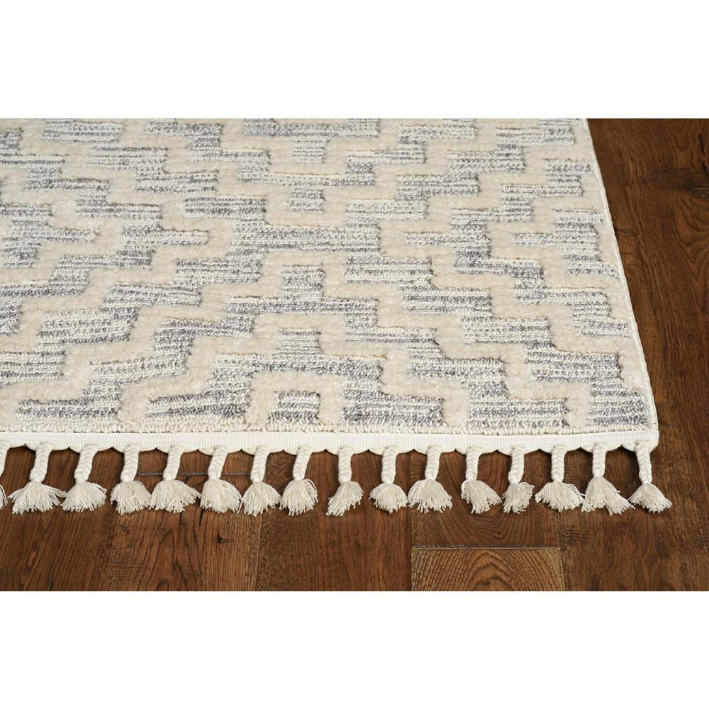 8' Ivory Grey Machine Woven Geometric With Fringe Indoor Runner Rug - 375683. Picture 3
