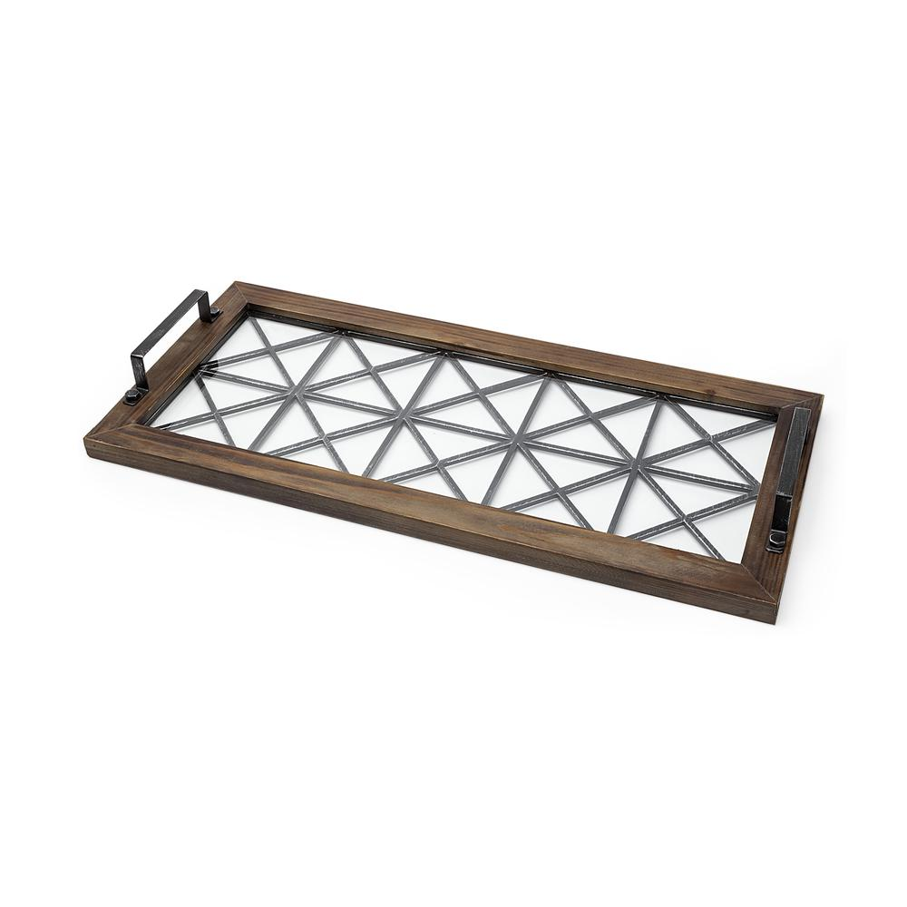 Brown Wood With Geometrically Metal Frame And Glass  Bottom Tray - 376038. Picture 1
