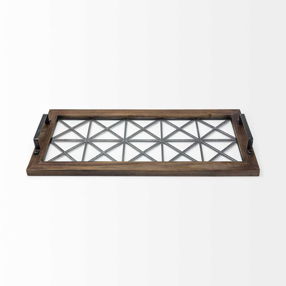 Brown Wood With Geometrically Metal Frame And Glass  Bottom Tray - 376038. Picture 2