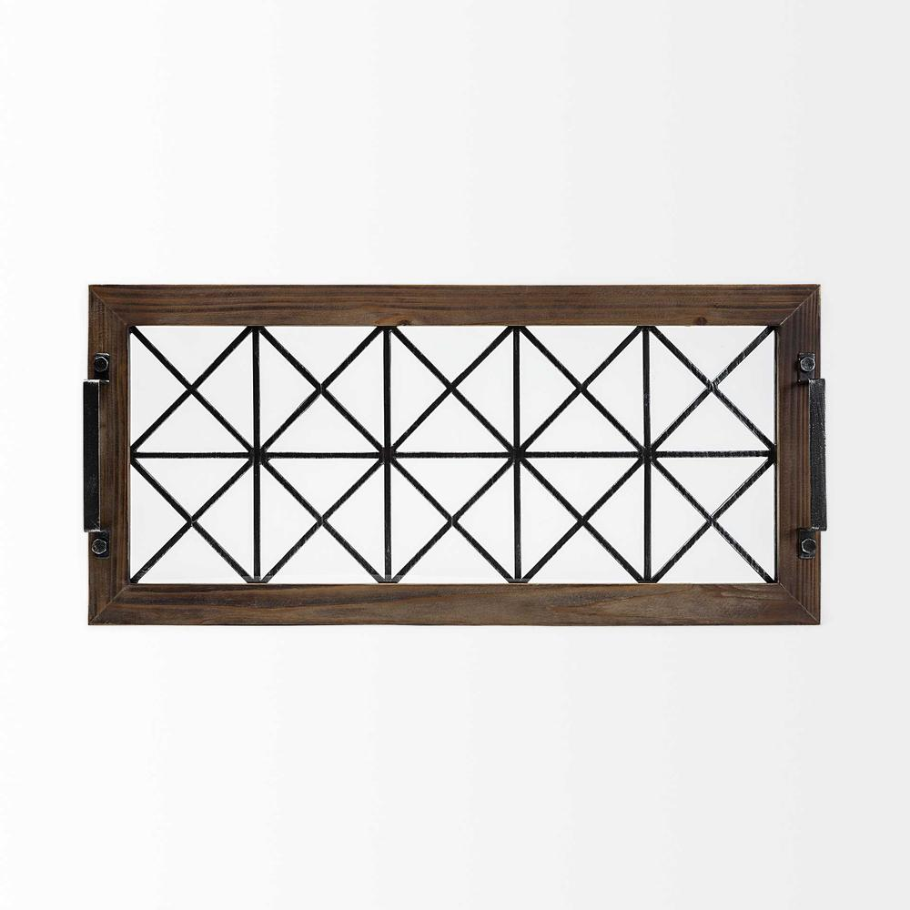 Brown Wood With Geometrically Metal Frame And Glass  Bottom Tray - 376038. Picture 3