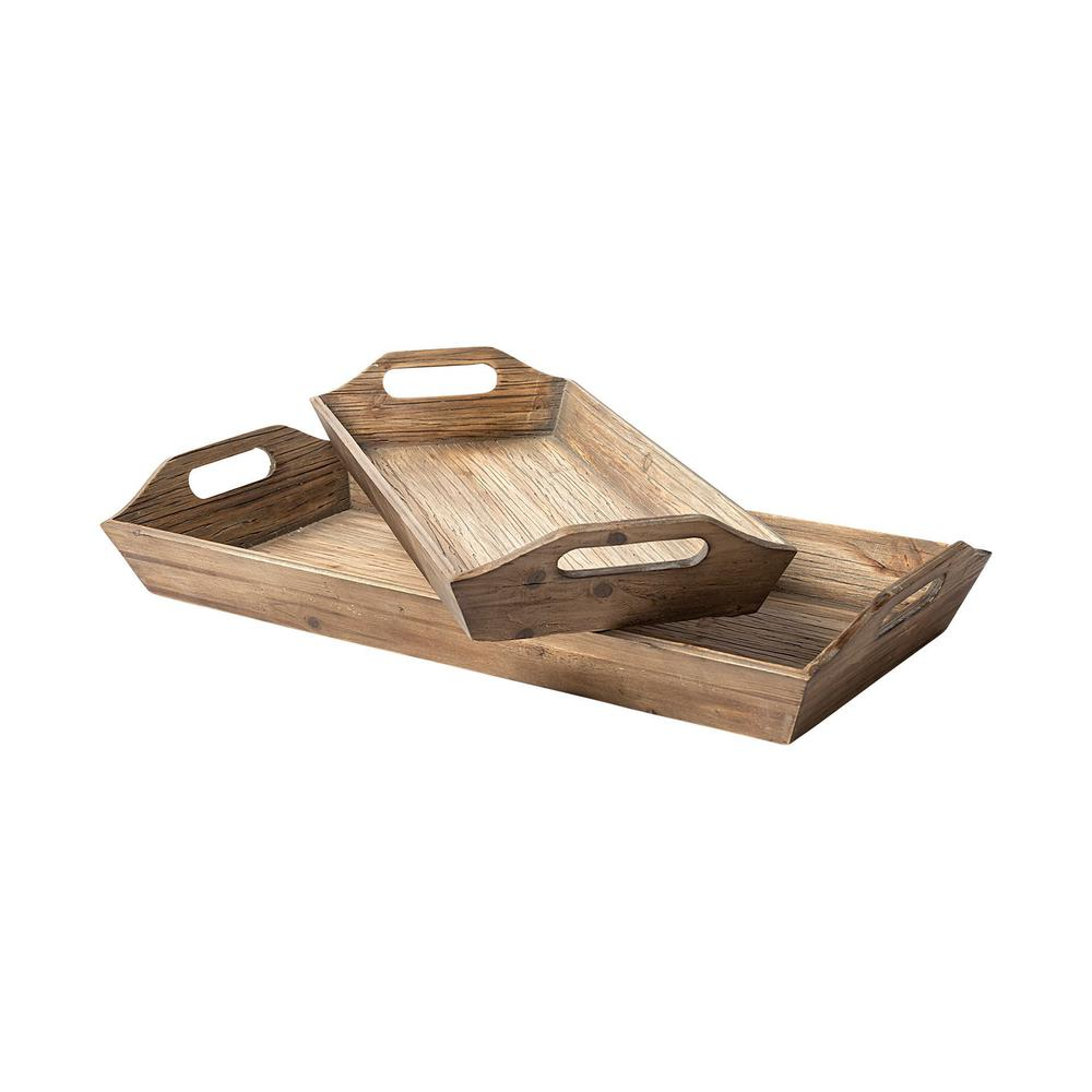 Set of 2 Natural Brown Wood With Grains And Knots Highlight Trays - 376054. Picture 1