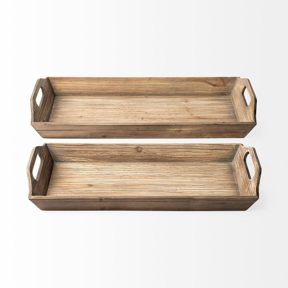 Set of 2 Natural Brown Wood With Grains And Knots Highlight Trays - 376054. Picture 2