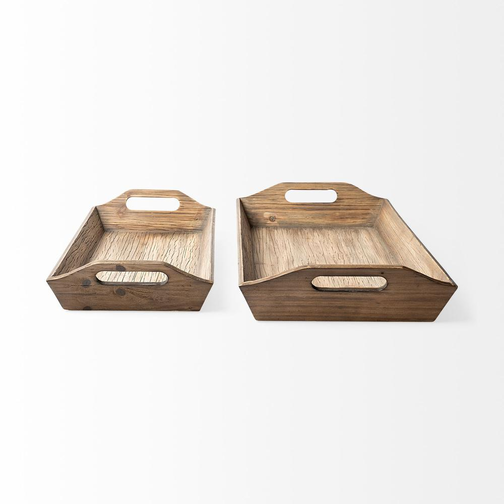Set of 2 Natural Brown Wood With Grains And Knots Highlight Trays - 376054. Picture 3