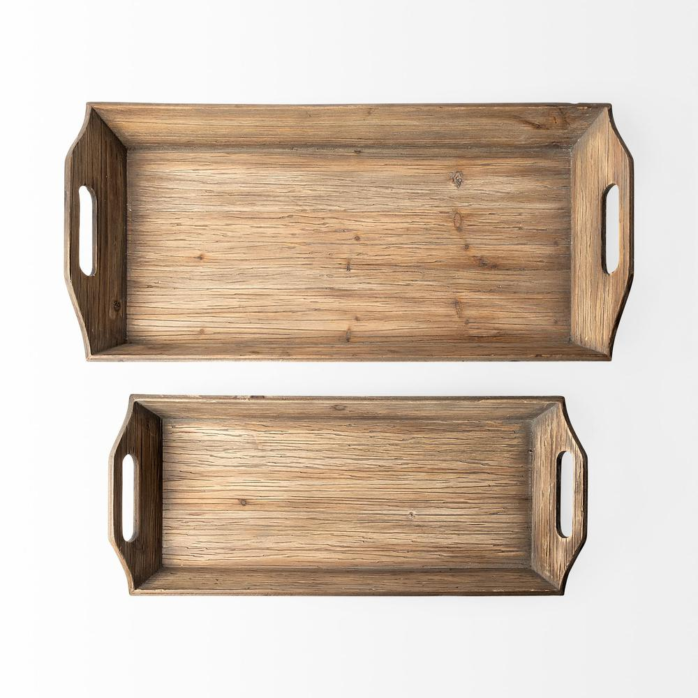 Set of 2 Natural Brown Wood With Grains And Knots Highlight Trays - 376054. Picture 4
